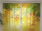 Šifoon-fotokardin Autumn flowers 240x220 cm ED-100134