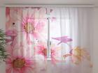 Šifoon-fotokardin Pink gerberas 240x220 cm ED-100137