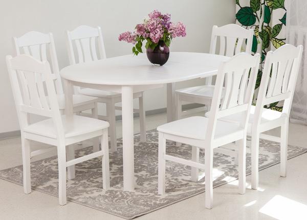 Söögitoakomplekt 100x100-139 cm + toolid Per 6tk, valge EC-116853