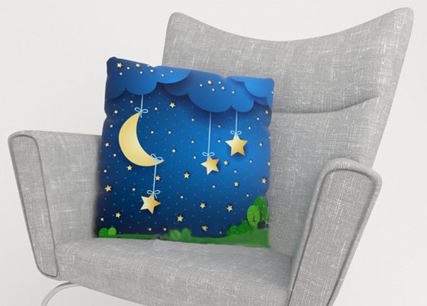 Dekoratiivpadjapüür Moon and stars 45x45 cm ED-123996