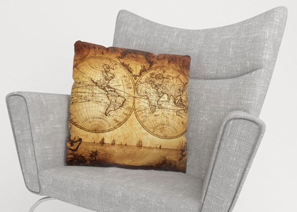 Dekoratiivpadjapüür Old Map 40x40 cm ED-124006