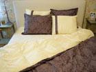 6-osaline puuvillasatiinist voodipesukomplekt Kuninglik pruun 150x210 cm VO-124043