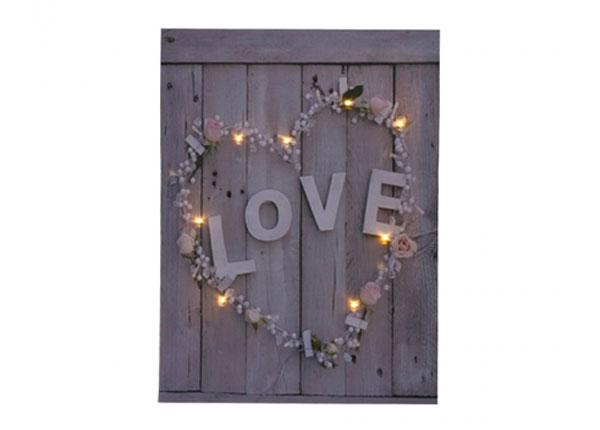 LED pilt Love & Flower Heart 50x70 cm ED-125632
