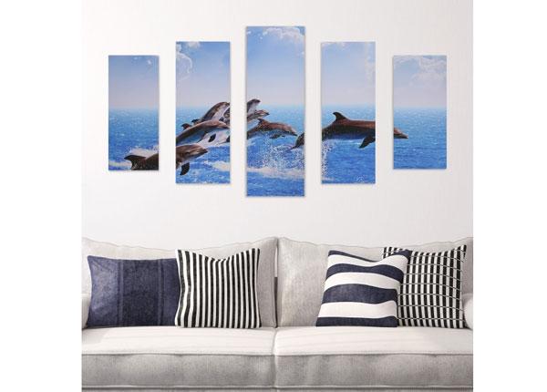 Viieosaline seinapilt Jumping Dolphins 160x60 cm ED-125683