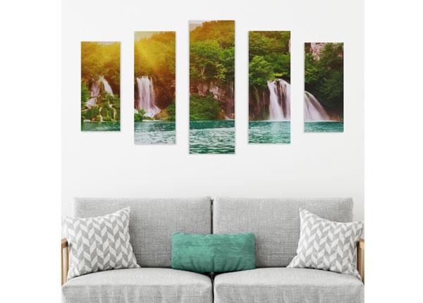Viieosaline seinapilt Tropical Waterfall 160x60 cm ED-125684