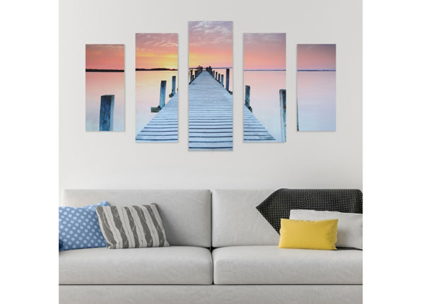 Viieosaline seinapilt Footbridge & Sunset 160x60 cm ED-125687