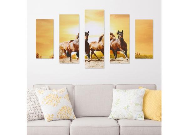 Viieosaline seinapilt Horse & Sunset 160x60 cm ED-125688