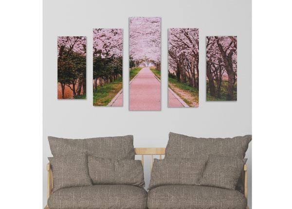 Viieosaline seinapilt Cherry Blossom Path 160x60 cm ED-125689