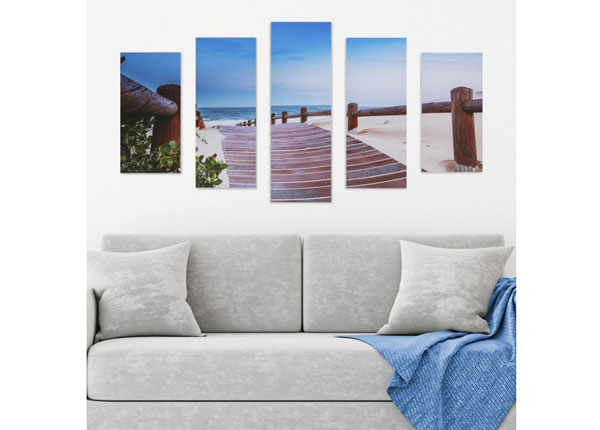 Viieosaline seinapilt Beach Walkway 160x60 cm ED-125692