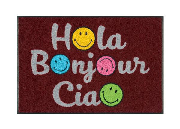 Uksematt Smiley Hola Bonjour Ciao 50x75 cm A5-128308