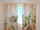 Läbipaistev kardin Irises and butterflies 240x220 cm ED-128619