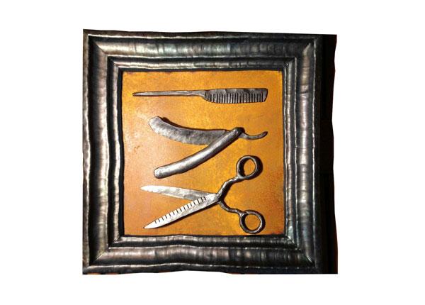 Sepistatud rauast seinapilt Juuksur 37x37 cm HS-128882