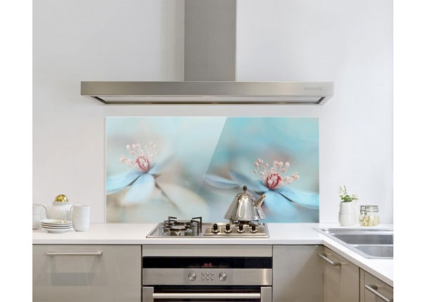 Fotoklaas, köögi tagasein Flowers In Light Blue 40x80 cm