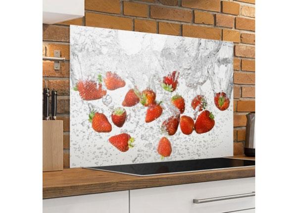 Fotoklaas, köögi tagasein Fresh Strawberries In Water 40x60 cm