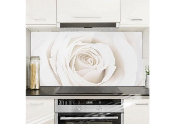 Fotoklaas, köögi tagasein Pretty White Rose 1, 40x60 cm