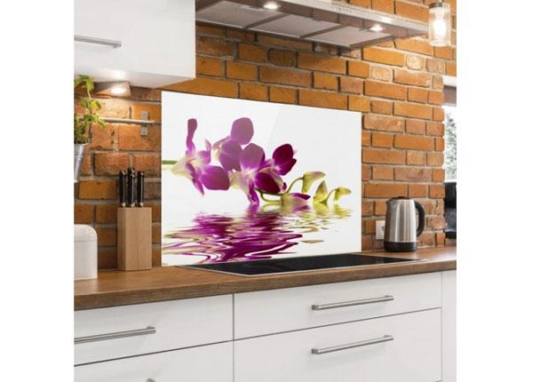 Fotoklaas, köögi tagasein Pink Orchid Waters 40x60 cm