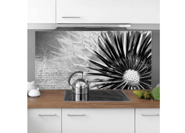 Fotoklaas, köögi tagasein Dandelion Black & White 1, 59x90 cm ED-130142