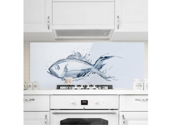 Fotoklaas, köögi tagasein Liquid Silver Fish 40x60 cm