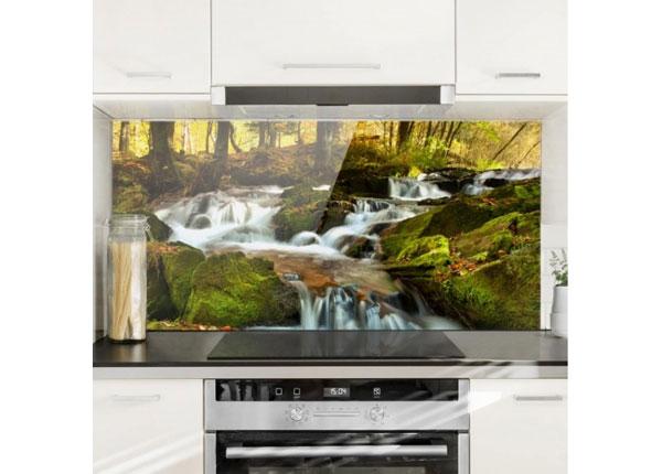 Fotoklaas, köögi tagasein Waterfall Autumnal Forest 40x80 cm