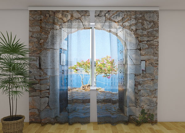 Šifoon-fotokardin Archway to the Sea 240x220 cm ED-131432