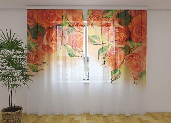Šifoon-fotokardin Orange Roses 240x220 cm ED-131460