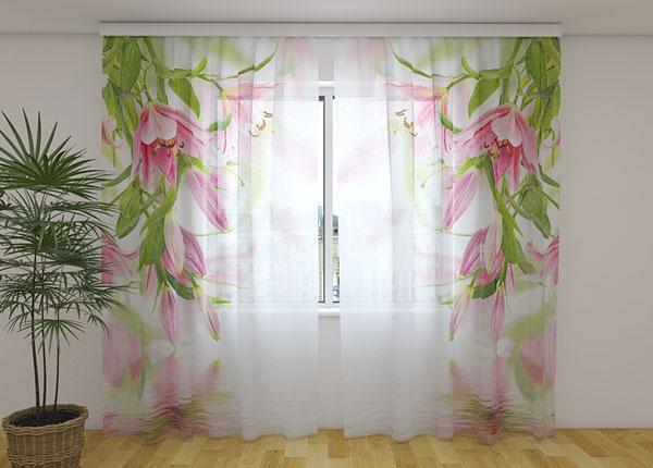 Šifoon-fotokardin Pink lilies 240x220 cm ED-131466