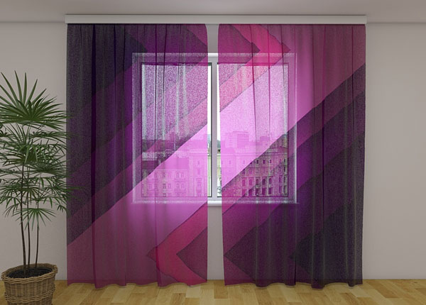 Šifoon-fotokardin Purple lines 240x220 cm ED-131468
