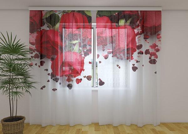 Šifoon-fotokardin Roses and Hearts 240x220 cm ED-131498