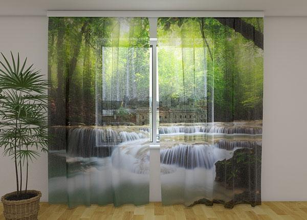 Šifoon-fotokardin Waterfall in spring Forest 240x220 cm