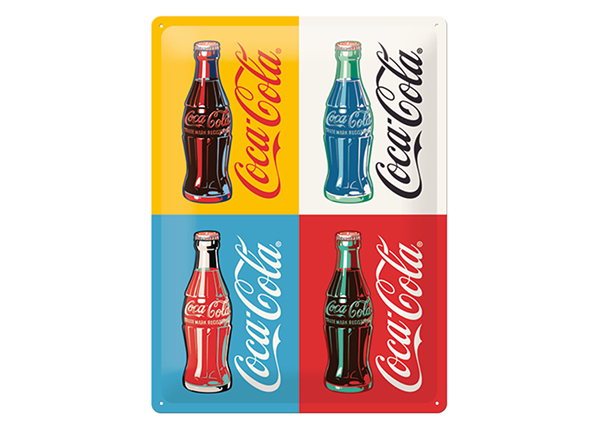 Retro metallposter Coca-Cola Pop Art 4 pudelit 30x40 cm SG-132746