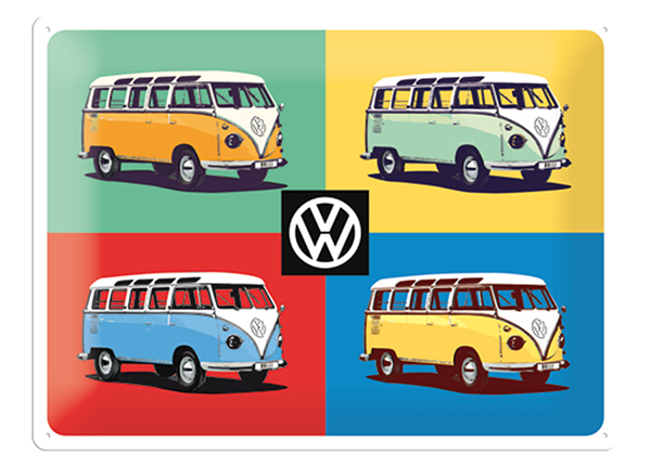 Retro metallposter VW Bulli Pop Art 4 autot 30x40 cm SG-132753