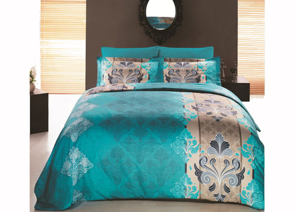 Satiinist voodipesukomplekt Embro Turkuaz 200x220 cm AÄ-132974