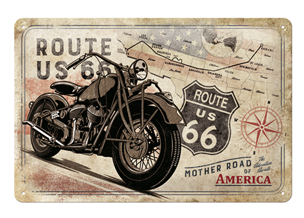 Retro metallposter Route 66 Mother Road of America 20x30 cm