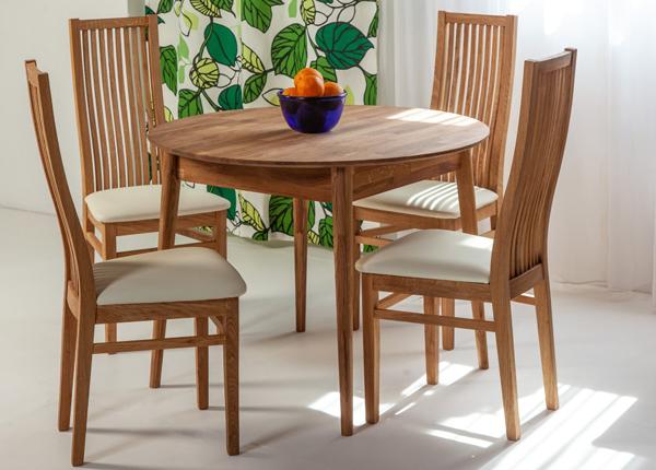 Tammepuust söögilaud Scan Ø100 cm+ 4 tooli Sandra EC-137977
