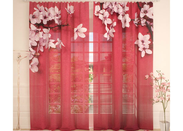 Tüllkardinad Cherry Flowers on Red 290x260 cm AÄ-138223