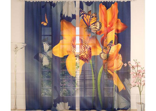 Tüllkardinad Yellow Orchids and Butterflies 290x260 cm AÄ-138227
