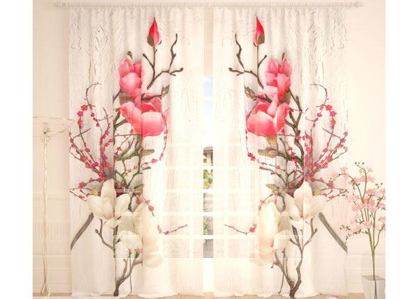 Tüllkardinad Flowers on a White Tree 290x260 cm AÄ-138256