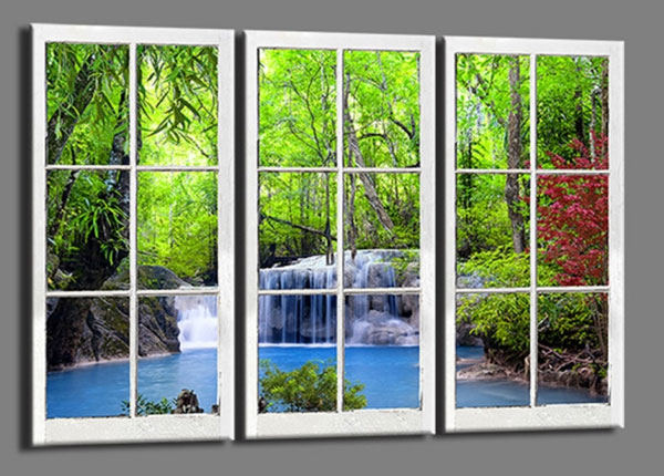 Kolmeosaline seinapilt Window waterfall 120x80 cm ED-139731