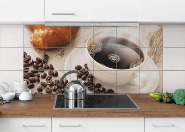 Kleebised seinaplaatidele Steaming coffee cup with coffee beans 60x120 cm ED-139978