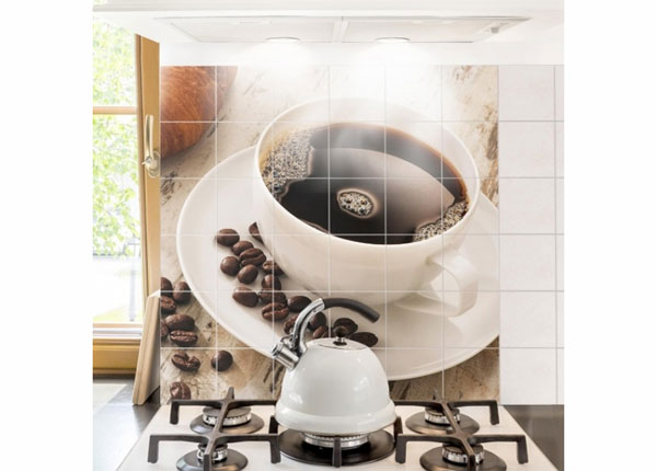 Kleebised seinaplaatidele Steaming coffee cup with coffee beans 120x120 cm ED-139983