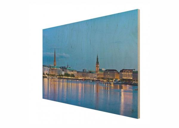 Seinapilt puidul Hamburg skyline ED-140905