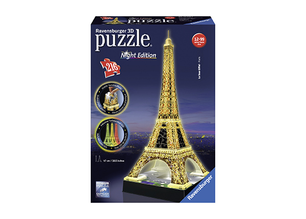3D pimedas helendav pusle Eiffeli torn 216 tk RO-141049