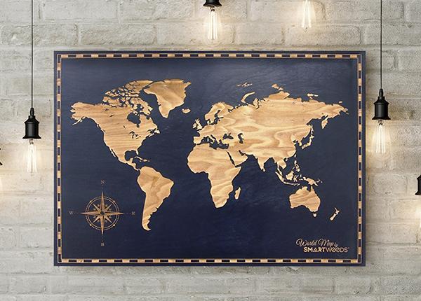 Puidust seinapilt Maakaart 85x59 cm