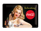 Retro metallposter Coca-Cola Refreshing Naine 20x30cm