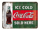Retro metallposter Coca-Cola Ice cold sold here 15x20cm SG-78408