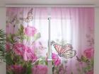 Šifoon-fotokardin Butterflies and pink roses 240x220 cm ED-99912
