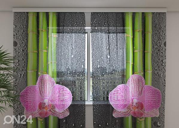 Šifoon-fotokardin Orchids and bamboo 2, 240x220 cm ED-100127