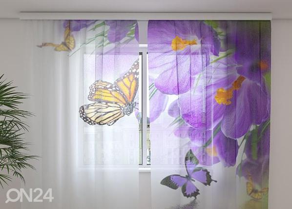 Šifoon-fotokardin Crocuses and butterflies 240x220 cm ED-100128