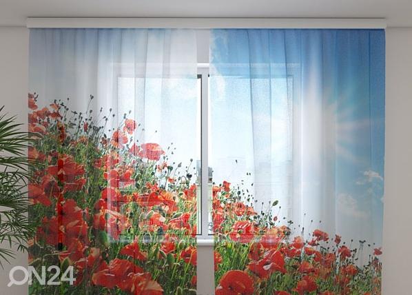 Šifoon-fotokardin Sunny poppies 240x220 cm ED-100139