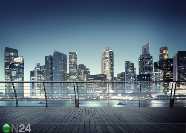 Fliis-fototapeet Skyscrapers night skyline 360x270 cm ED-109404